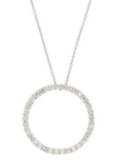 Neiman Marcus Diamonds 18k Pave Diamond Circle Pendant Necklace