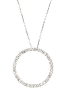 Neiman Marcus Diamonds 18k Pave Diamond Circle Pendant Necklace