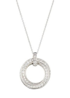 Neiman Marcus Diamonds 18k White Gold Twisted Diamond Circle Pendant Necklace