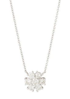 Neiman Marcus Diamonds Fiamma 18k White Gold Diamond Flower Pendant Necklace