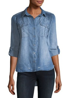 Neiman Marcus Distressed Chambray Button-Down Shirt