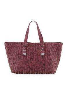 Neiman Marcus Distressed Woven Leather Tote Bag
