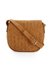 Neiman Marcus Distressed Woven Saddle Bag