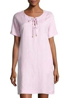 Neiman Marcus Dolman Crewneck Lace-Up Dress