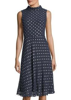 Neiman Marcus Dot-Print High-Neck Chiffon Dress