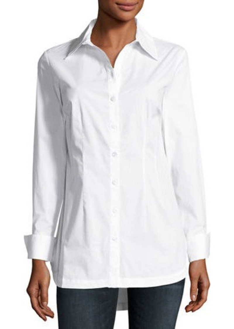 Neiman Marcus Double-collar Button-Front Blouse