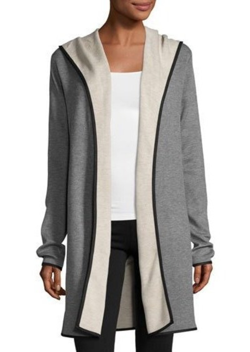 Neiman Marcus Neiman Marcus Double-Face Long Hooded Cardigan ...