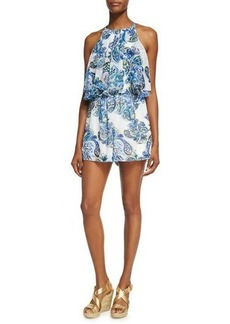 Neiman Marcus Double-Layer Ruffle Short Romper