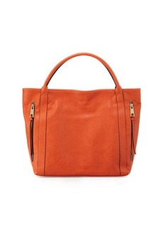 Neiman Marcus Double-Zip Faux-Leather Tote Bag