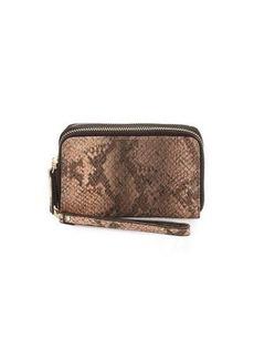 Neiman Marcus Double-Zip Faux-Leather Wristlet