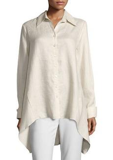 Neiman Marcus Drape-Back Linen Blouse