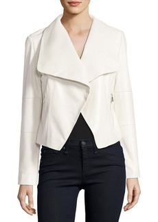 Neiman Marcus Draped Leather Moto Jacket