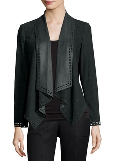 Neiman Marcus Draped Suede Jacket w/ Laser-Cut Border