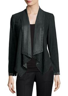 Neiman Marcus Draped Suede Jacket w/ Laser-Cut Border
