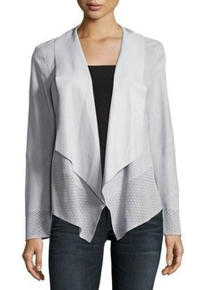 Neiman Marcus Draped Suede Jacket w/ Perforated Trim