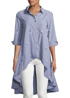 Neiman Marcus Dress-Back Button-Up Blouse