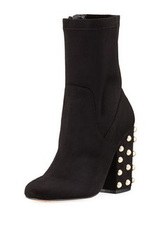 Neiman Marcus Embellished Faux-Suede Pearly-Heel Bootie