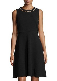 Neiman Marcus Embellished-Neck Sleeveless Dress