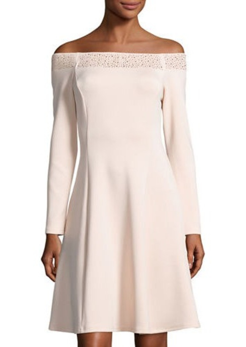 Neiman Marcus Embellished Off-the-Shoulder Dress