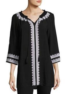 Neiman Marcus Embroidered 3/4-Sleeve Tunic