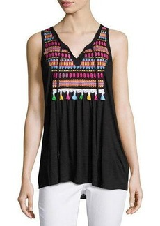 Neiman Marcus Embroidered-Bib Jersey Tank