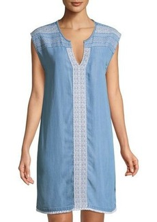 Neiman Marcus Embroidered Cap-Sleeve Shift Dress
