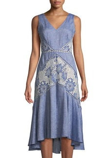 Neiman Marcus Embroidered Chambray Fit-&-Flare Dress