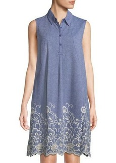 Neiman Marcus Embroidered Chambray Shirtdress
