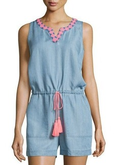 Neiman Marcus Embroidered Chambray Short Jumpsuit