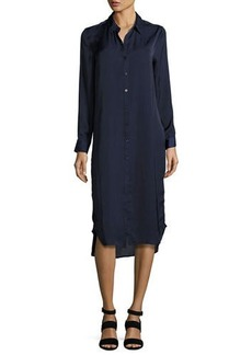 Neiman Marcus Embroidered Charmeuse Collared Tunic