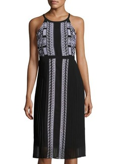 Neiman Marcus Embroidered Chiffon Pleated Dress