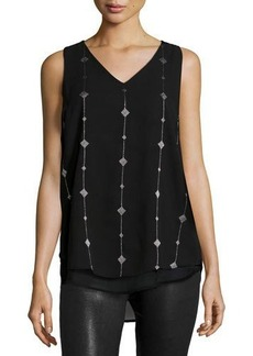 Neiman Marcus Embroidered Chiffon Tank