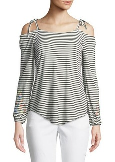 Neiman Marcus Embroidered Cold-Shoulder Tee