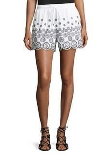 Neiman Marcus Embroidered Cotton Shorts