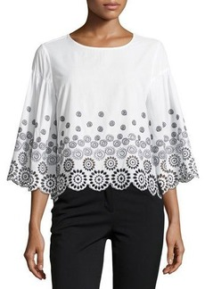 Neiman Marcus Embroidered Cotton Top