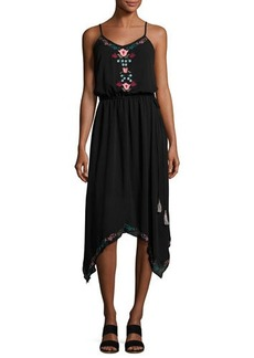 Neiman Marcus Embroidered Drawstring Midi Dress