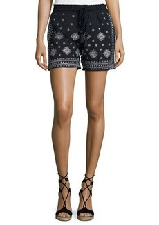 Neiman Marcus Embroidered Drawstring Shorts