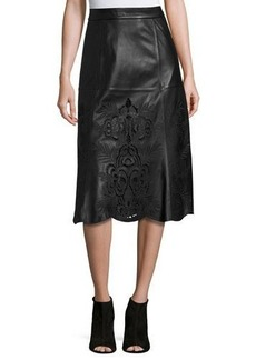 Neiman Marcus Embroidered Floral Laser-Cut Leather Midi Skirt