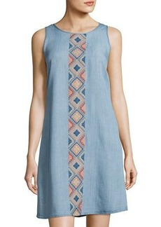 Neiman Marcus Embroidered-Front Sleeveless Dress