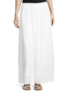 Neiman Marcus Embroidered-Inset Woven Maxi Skirt