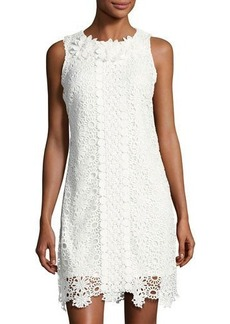 Neiman Marcus Embroidered Lace Sleeveless Dress