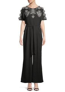 Neiman Marcus Embroidered Ladder-Sleeve Wide Leg Jumpsuit