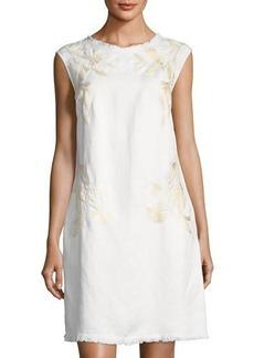 Neiman Marcus Embroidered Linen-Blend Shift Dress