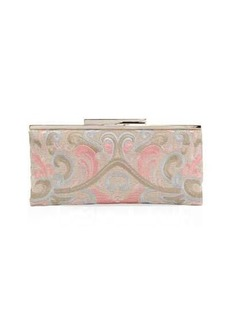 Neiman Marcus Embroidered Linen Clutch