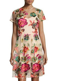 Neiman Marcus Embroidered-Mesh Overlay Dress