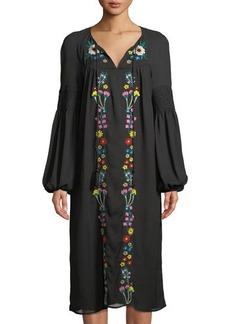 Neiman Marcus Embroidered Midi Peasant Dress