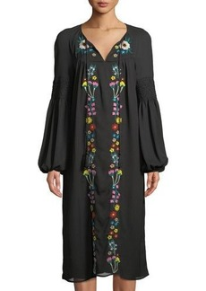 Neiman Marcus Embroidered Midi Peasant Dress