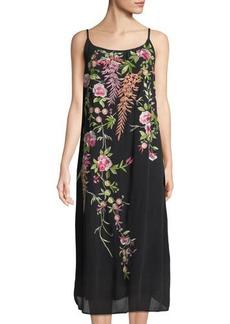 Neiman Marcus Embroidered Midi Shift Dress