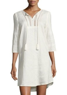 Neiman Marcus Embroidered-Neck Linen Tunic Dress