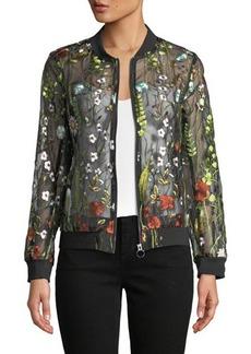 Neiman Marcus Embroidered Sheer Zip-Front Jacket